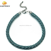 Vintage style statement high quality crystal chunky necklace for women