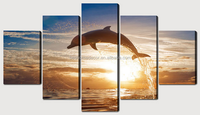 animal pictures wall art,stretched canvas prints 5 panels