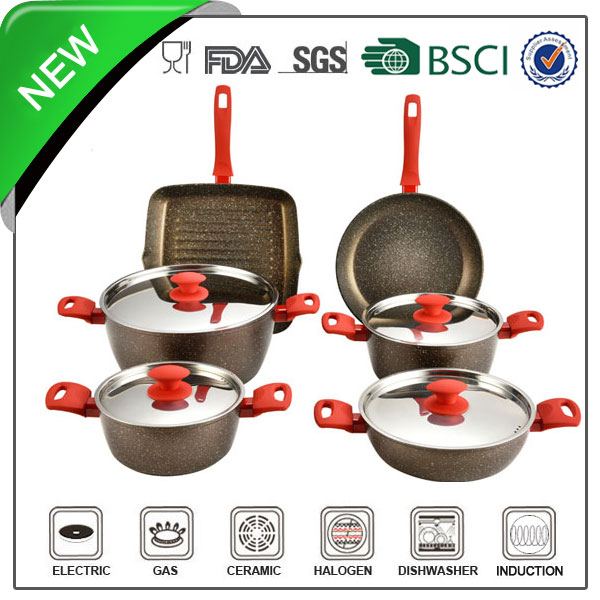 nonstick marble coating forged aluminum 10pcs kitchenware accessories