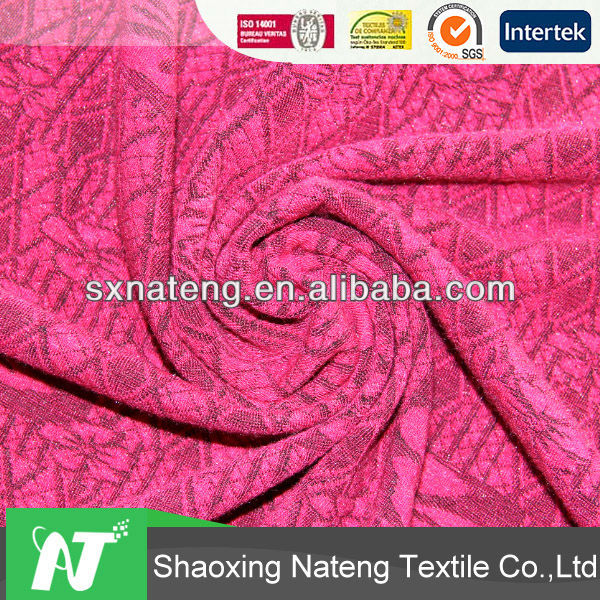 2014 new fashion sample,high quality fabric rayon/poly knitting jacquard fabric in single dye for women clothing/dress