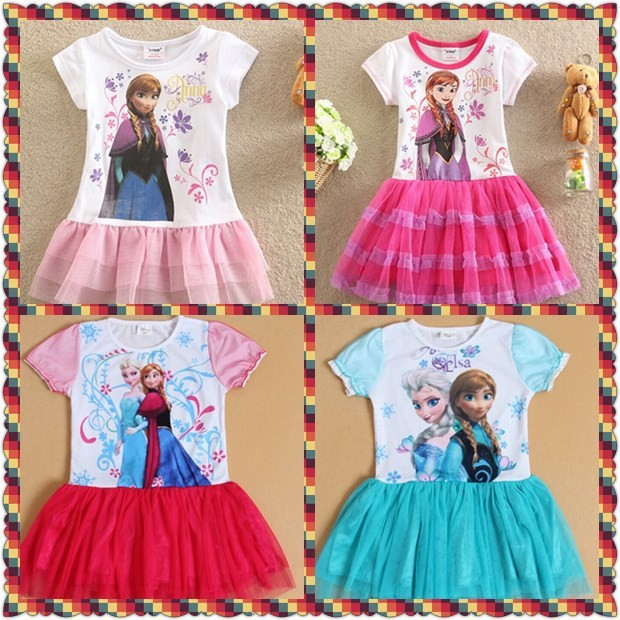 Wholesale baby kids dress ,children frozen dress ,Anna TUTU dresses,