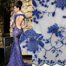 2016 wholesale price handwork beaded embroidery lace/ french lace fabric for bridal