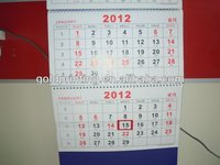 advertising design fold 3 wall calendar with varnishing and spot UV