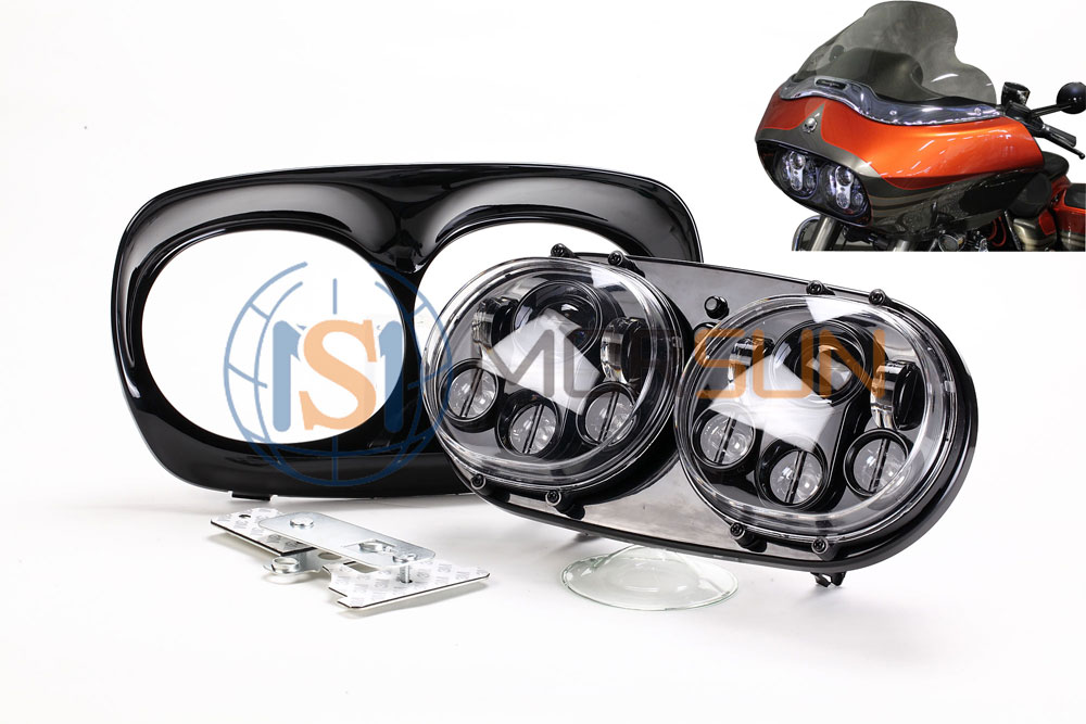 Evolution Road Glide 04-13 Harley headlight replacement dual head lamp for 04'-13' motorcycle