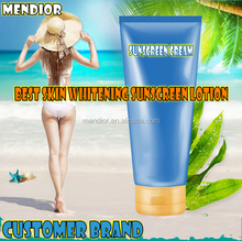 2017 Hot Sell private label natural Sunscreen Cream best skin whitening sunscreen lotion for oily skin