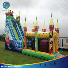 Cute Print Cartoon Inflatable Jumping Bouncer Castle with slide for sale