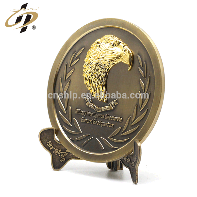 Custom 3D antique bronze military metal commemorate plate