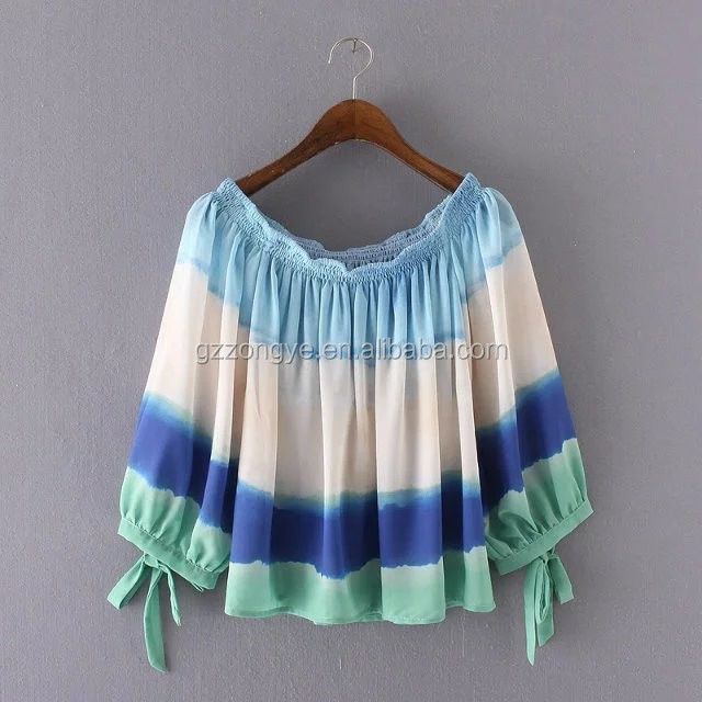 Fashion charm loose clothes puff sleeve chiffon georgette printing clothing