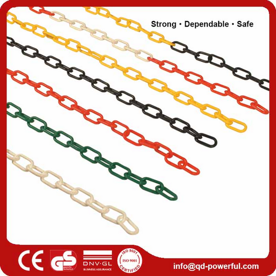 Safety Decorative Fluorescent Color Black White Red Small Yellow 3mm~12mm Bulk Cover Red White Links Coated Link Plastic Chain