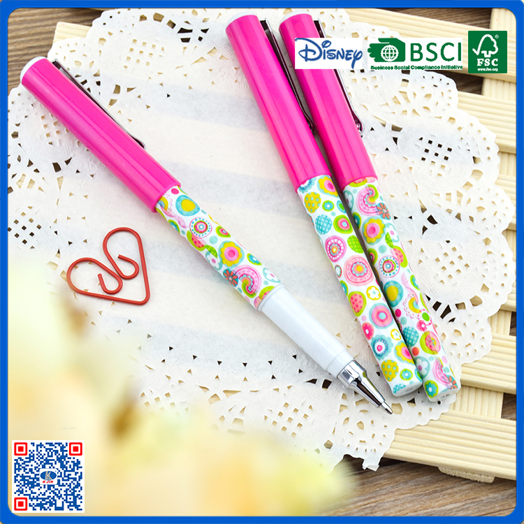 2016 lovely plastic ball pen refill with flowers free ball pen sample