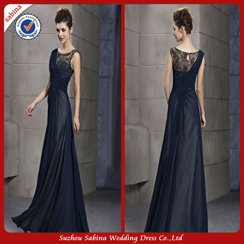 GE034 Elegant lace mother of the bride evening dresses navy blue chiffon evening dress china