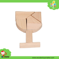 EN71Wooden Goblet shape Puzzle Brain Teaser Puzzle Toy for promotion