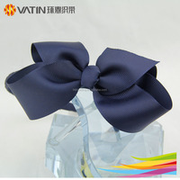 Factory solid color large ribbon bow hair band