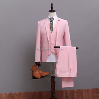 Pink One Button Mens Wear 2016 Hot Sale Free Shipping Customized Made Smoking Casamento (Coat+Pants+Vest) NA03 Tuxedos For Man