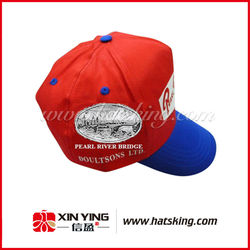 Red cotton embroidery baseball cap short bill foam