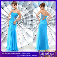 A-line Strapless Open Back Beaded Chiffon Mature Women Dresses Sapphire Blue Prom Dresses