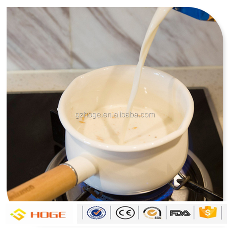 Customized Printing Carbon Steel Sauce pan Enamel Metal Pot With Wooden Handle