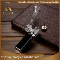 Mini dry herb vaporizer with e cigarette box mod and quartz ceramic coilless from Rockit erig kit