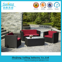 Rattan Cozy Cube Set Llounge Removable Cover Corner Sofa With Red Cushions