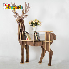 Wholesale beautiful multi colors wooden elk shape decorative book shelf used in store W08D069