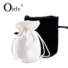 Oirlv Wholesale Standing Up Pouch Bag For Watch Bracelet Jewellery Cosmetic Packaging Custom Drawstring Velvet jewelry pouch