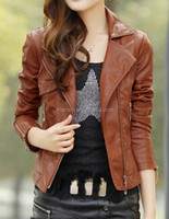 Hot Sell !! High Quality Latest Fashion PU Washed Leather Jacket For Women