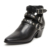 2017 popular style leather buckle strap low heel women ankle boot