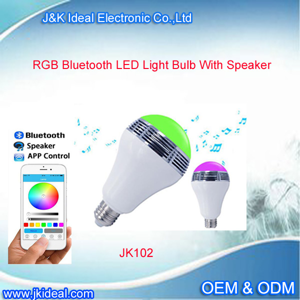 JK102 Hot Sale gold& silver 16 Color Changing E27 RGB LED Bulb with bluetooth app