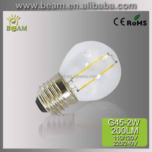 American Style Two Lines LED 2W 3W 4W E27 E26 E12 E14 B22 360 degree light Filament G45 LED bulb, hot sell 2015 new products