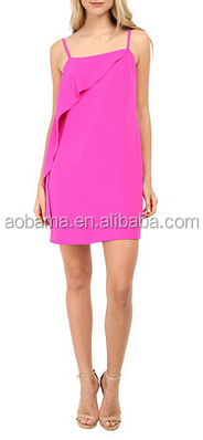 ladies spaghetti straps cute pink chiffon dress