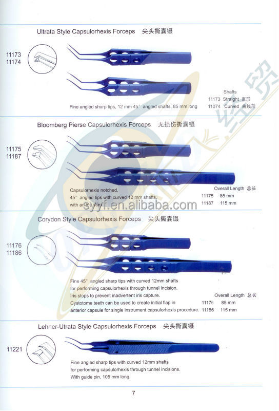 ophthalmology surgical instruments Capsulorhexis Forceps