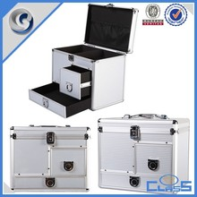 High Quality New Two Drawers Silver Surface Custom Carry Case Aluminum Tools Case
