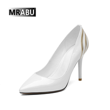 leather 9cm stiletto Pointed Latest ladies high heels shoes bridal wedding sandals