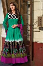Triveni Conspicuous Green Colored Printed Cotton Anarkali 8320A