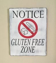 "Rustic painted sign ""gluten free zone"" made from solid pine"