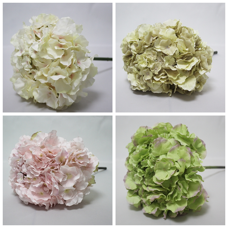 SFH44001 Hot Sales New Design Artificial White Hydrangea Big Silk Artificial Flower Heads For Weeding Decoration