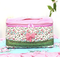 Countryside sweet flower travel makeup bag pink satin cosmetic bag