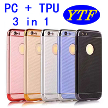 New 2017 3 in 1 PC TPU carbon fiber full cover case for Samsung A5 2017 A520 5 colors