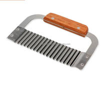 High Quality Popular Use Wooden Handle Wavy Stainless Steel Soap Cutter Slicer for Homemade Soap,Potato Chip, Dough, Carrot