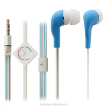 Promotional in-ear earphones with unique mic and flat cable