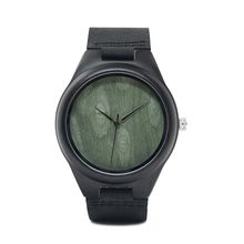 BOBO BIRD F04 handcraft ebony watches wood black leather strap quartz time watch green dial custom uhren men drop shipping