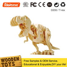 Radio Control Toys Wooden Moving Dinosaur Kids Educational Puzzles