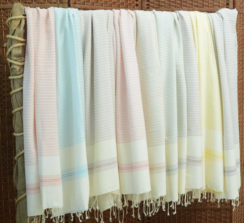 "Herbal Silk and Bamboo Turkish Towel Peshtemal 40""x70"" 100cmx180cm"
