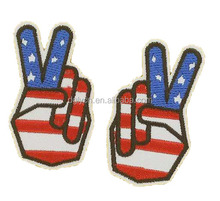 Customized iron on american flag character embroidery jeans patch