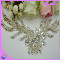 ecusson brode chinois bridal sash beaded rhinestone applique for wedding sash