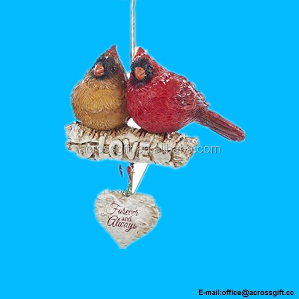 "4.5"" Resin Cardinals ON Birch Branch Orn: ""love Forever And Always."""