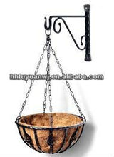 Decorative galvanized black metal hanging flower basket