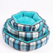 Classic Check Tartan Cushion Bed Dog House Soft Plush Pet Bed For Winter