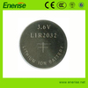 LIR2032 Li-ion button cell battery/wholesale 3.6V rechargeable lithium cell battery