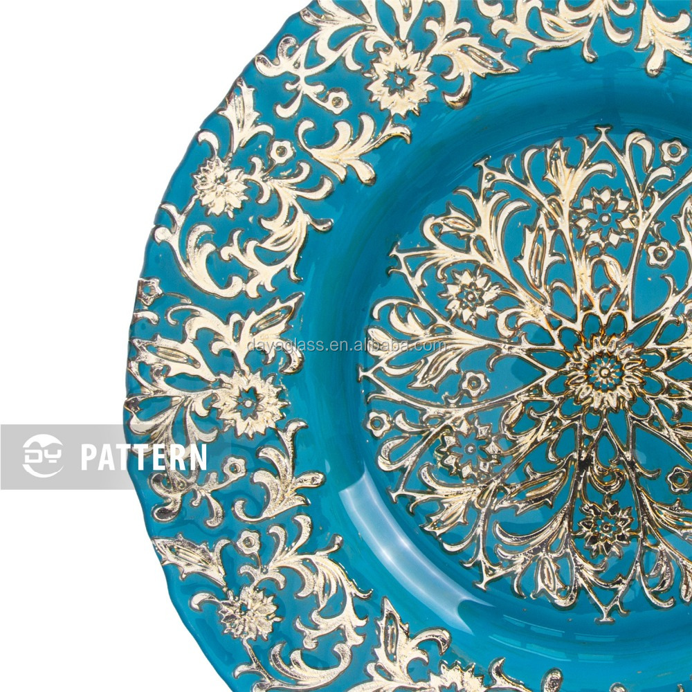 GP0002-1 Wholesale dishes clear fancy glass wedding charger plates for hotel and restaurants